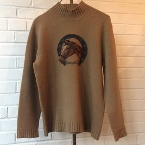 Vintage Ralph Lauren Tan Horse Head Sweater Sz L